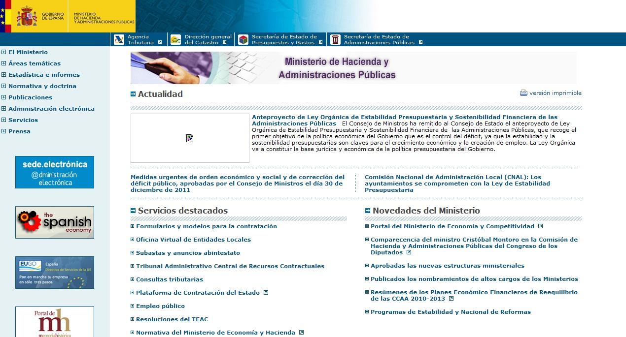 O sitio web del ministerio de hacienda for Pagina web ministerio interior