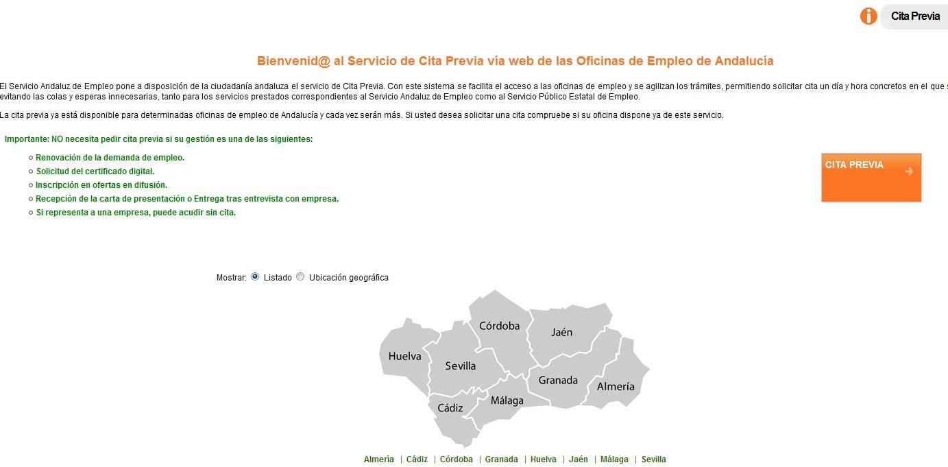 Servicio andaluz de empleo oficina virtual de empleo for Oficina postal mas cercana